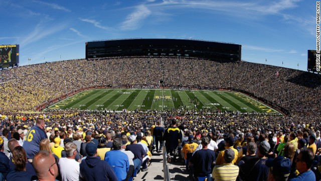 The University of Michigan's stadium in Ann Arbor is the third largest in the world. When its full, it houses 109,901 Michigan Wolverines fans.