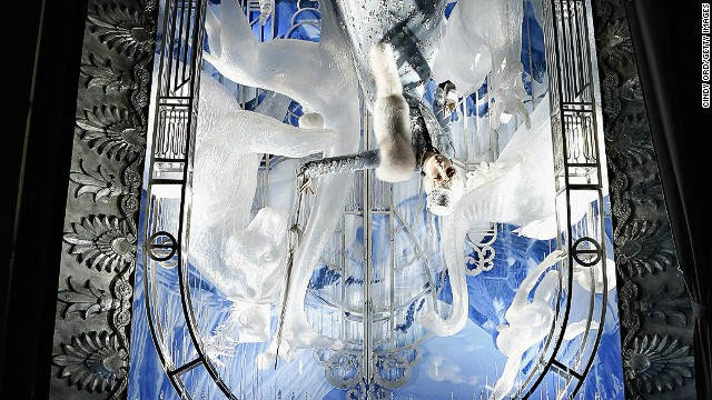 """Holidays on Ice,"" Bergdorf Goodman, New York: No, that's not an upside-down photo -- it's an upside-down window. The holiday featured in this wintry scene? April Fool's Day."