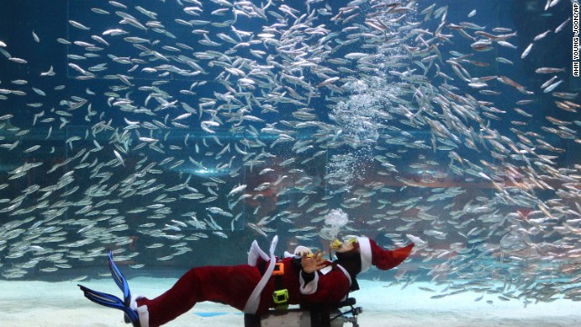 A diver dressed as Santa Claus swims with sardines at the Coex Aquarium in Seoul, South Korea, on Tuesday, December 10.