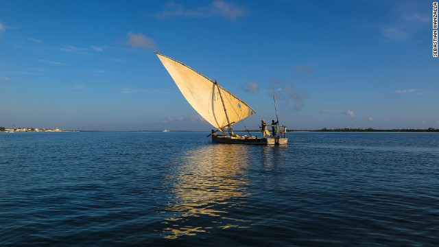 "Sebastian Wanzalla said his photo showed: ""Boatmen in a dhow heading home after collecting building stones from the neighboring island Manda next to Lamu Island."""