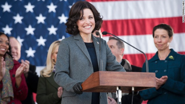 "Outstanding female actor in a comedy series: Julia Louis-Dreyfus ""Veep"" (pictured); Mayim Bialik ""The Big Bang Theory;"" Julie Bowen ""Modern Family;"" Edie Falco ""Nurse Jackie;"" Tina Fey ""30 Rock."""