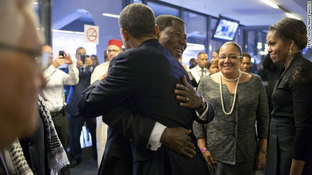 President Yayi Boni of Benin hugs President Obama at FNB Stadium in Johannesburg.