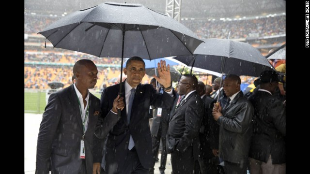 President Obama leaves FNB Stadium.
