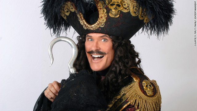 "David Hasselhoff debuts in pantomime as Captain Hook in ""Peter Pan"" at the New Wimbledon Theatre (2010)."