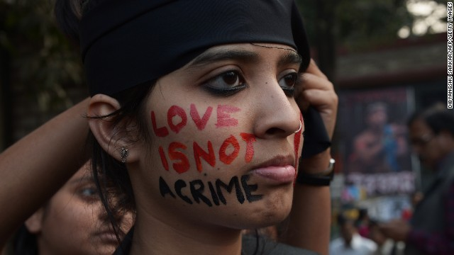 An Indian gay-rights activist takes part in a protest Wednesday against the Supreme Court ruling reinstating a ban on gay sex.