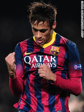 Barcelona striker Neymar celebrates scoring his first Champions League goal against Celtic in the Group H match at the Nou Camp. The Catalans thumped the Scottish champions 6-1 with Neymar completing a hat-trick.