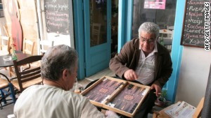 Locals playing backgammon outside a cafe in Nicosia.