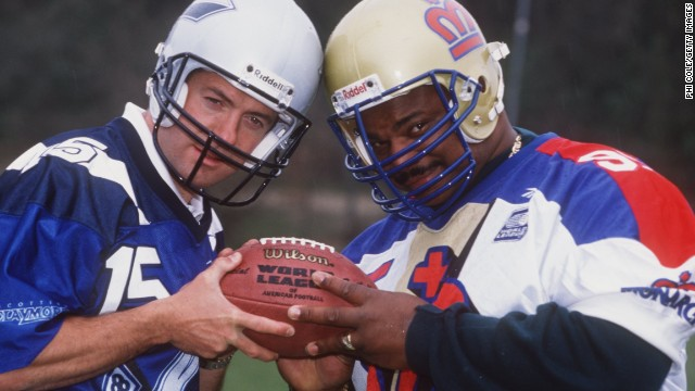 Former Scotland rugby captain Gavin Hastings (left) won a World Bowl title with Scottish Claymores in the now-defunct NFL Europe competition, which ran from 1991-2007.