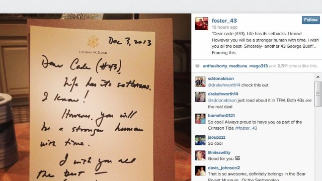 George W. Bush encourages Alabama kicker with letter