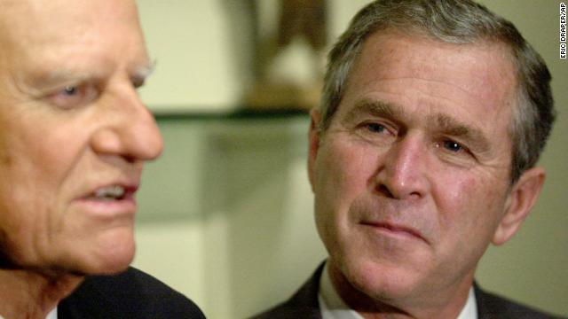 Presidential candidate George W. Bush meets with Graham in Jacksonville, Florida, on November 5, 2000. Years earlier, a conversation with Graham had helped lead Bush to give up drinking.