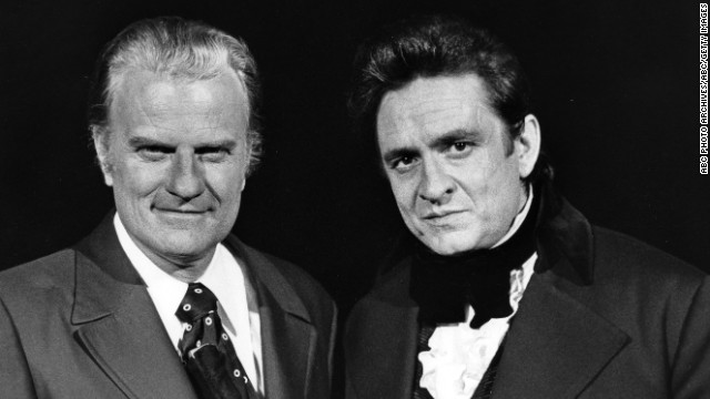 "Billy Graham, left, and Cash appear on ""The Johnny Cash Show"" on February 24, 1971."