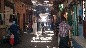 A Moroccan souk: lots of shopping, just not for Christmas.