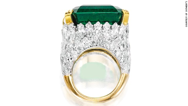 This magnificent platinum, 18 karat gold, emerald and diamond ring was sold for $4.6 million at the Sotheby's auction.