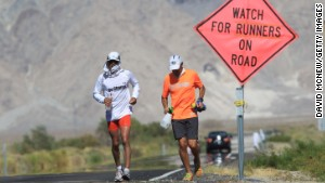 Runners take part in the ultramarathon in California. \n