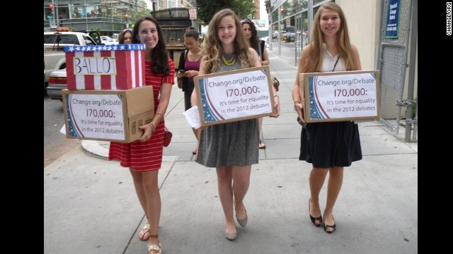 Sammi Siegel, Emma Axelrod and Elena Tsemberis are three New Jersey teens who petitioned to get a female moderator for the 2012 presidential debate. CNN's Candy Crowley was named a moderator for the second debate, in which wage parity became an issue.