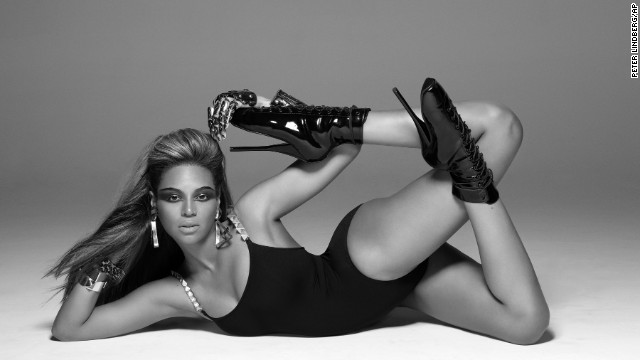 "Beyoncé during the filming of her hugely popular music video ""Single Ladies (Put A Ring on It)."""