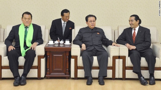 Japanese lawmaker Antonio Inoki, left, Jang Song Thaek and Kenshiro Matsunami, a former Japanese lawmaker, hold a meeting in Pyongyang, North Korea, on November 6. Jang Song Thaek was regarded as the second most powerful figure in North Korea.