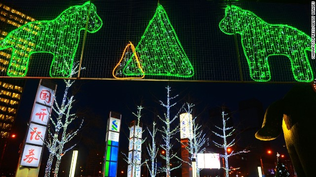 Though Christmas isn't a public holiday in China, every winter many cities get into the holiday spirit by putting up lights and decorations. This Christmas light display can be found at Beijing's Raffles City building.
