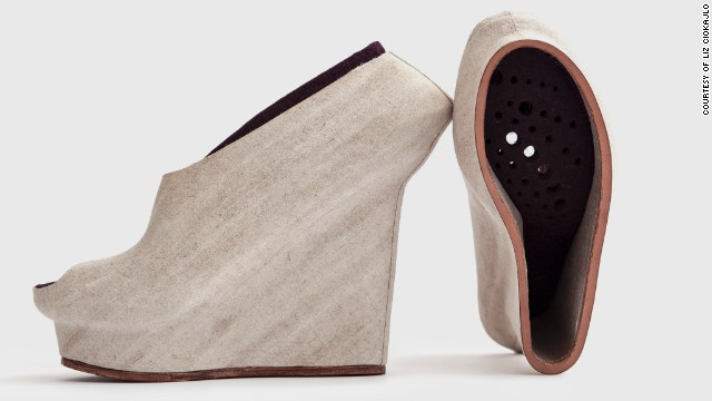 "Designer <a href='http://lizciokajlo.co.uk/' target='_blank'>Liz Ciokajlo</a> believes natural materials, including coconut husks, hemp and flax, can be utilized in the 3-D printing process. She 3-D printed molds for these shoes and then wrapped them in natural fibers. As she says: ""3-D print has the potential to address economic and sustainable issues the footwear industry is facing."""