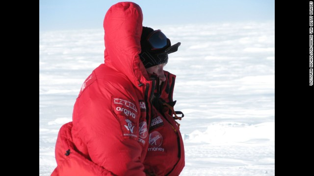 Prince Harry looks at the start line in Antarctica.