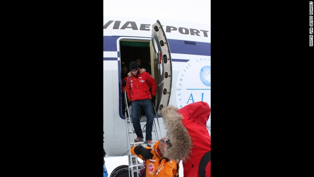 Prince Harry arrives in Novo, Antarctica.