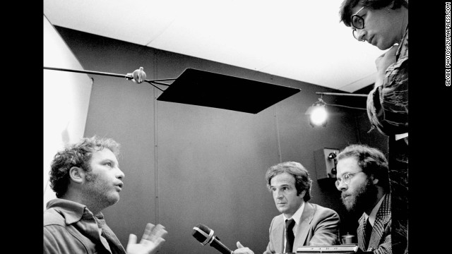 """Spielberg, right, listens to actor Richard Dreyfuss on the set of the 1977 science-fiction film """"Close Encounters of the Third Kind."""" The film earned Spielberg his first Oscar nomination for Best Director."""