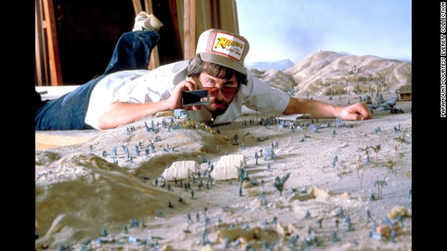 "Spielberg works on a miniature set for ""Raiders of the Lost Ark."" The 1981 movie would be the first in the highly successful Indiana Jones film franchise."