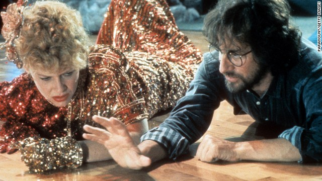 """Actress Kate Capshaw is directed by Spielberg on set of the film """"Indiana Jones and the Temple of Doom"""" in 1984. Capshaw, who played Indiana Jones' love interest in the movie, would later become Spielberg's future wife. The year 1984 was also when Spielberg founded his production company Amblin Entertainment."""