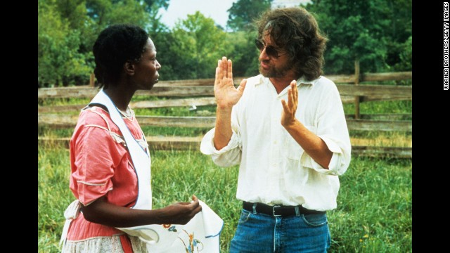 """Actress Whoopi Goldberg has a conversation with Spielberg during production of the 1985 film """"The Color Purple."""" The film, an adaptation of Alice Walker's novel, was nominated for Best Picture and earned Goldberg a Best Actress nomination."""