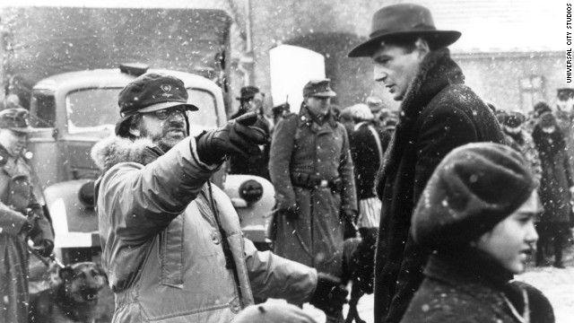 """Spielberg and actor Liam Neeson work on the set of """"Schindler's List"""" in 1994. The film earned Spielberg his first Oscars for Best Picture and Best Director. Also in 1994, Spielberg created the film studio DreamWorks along with Jeffrey Katzenberg and David Geffen."""