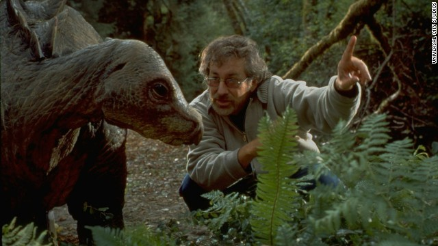 "Spielberg directs a dinosaur in the ""The Lost World,"" the ""Jurassic Park"" sequel in 1997."