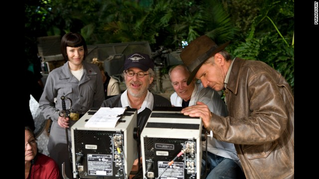 """Actress Cate Blanchett, Spielberg, producer Frank Marshall and actor Harrison Ford appear on the set of the latest Indiana Jones film, """"Indiana Jones and the Kingdom of the Crystal Skull,"""" in 2008."""