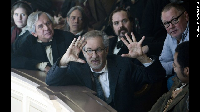 """Spielberg, center, on the set of """"Lincoln"""" in 2012. Daniel Day-Lewis starred in the film as U.S. President Abraham Lincoln and became the first actor in a Spielberg movie to win the Academy Award for Best Actor."""