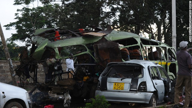 Wreckage of the minivan targeted in a grenade attack in Nairobi, Kenya.