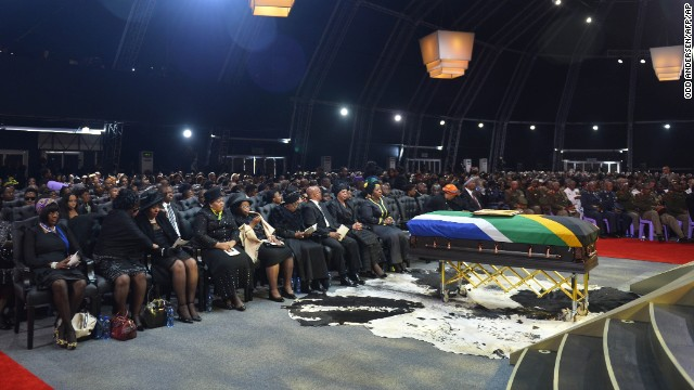 Mandela family members and guests attend the funeral ceremony.