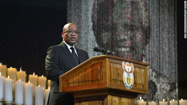 South African President Jacob Zuma speaks during the funeral ceremony.