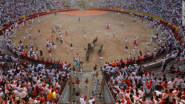 "Injuries to idiots/daredevils who ran with the bulls in Spain's annual festival included an Australian gored in the chest and American who suffered a ""perforated rectum."" Numerous bulls also sustained fatal injuries."