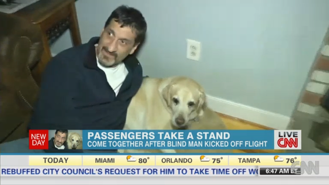 All 35 passengers on a US Airways flight stormed off the plane in solidarity after Albert Rizzi, a blind man, and his dog, Doxy, were escorted off the flight after a heated exchange between Rizzi and a flight attendant about where his dog should sit, according to Rizzi.