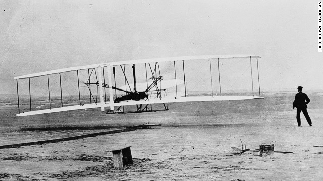 In 1903, Orville Wright, aided by his brother Wilbur, flew the first sustained powered flight -- lasting 120 feet. Since then we've witnessed supersonic flight, moon landings, online booking and camera-phone technology. Click through the gallery here and see the article below for more seminal moments in travel history.