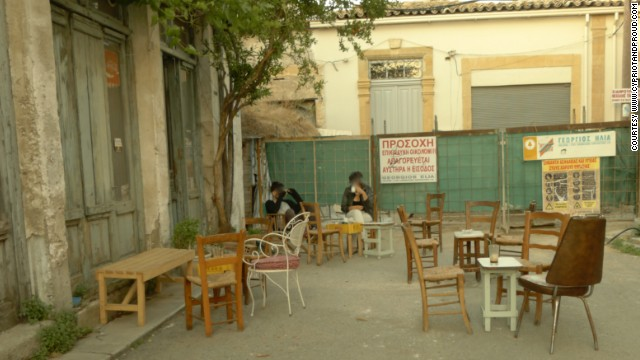 "The rustic Xaratsi cafe sits right next to the buffer zone and comes alive in the evening. ""People from all different paths of life visit us daily. From the prostitutes that work the corner to priests, backpackers to politicians, writers, musicians, unemployed young people, artists, anarchists, rappers, everyone,"" says owner Stavros Lambrakis."