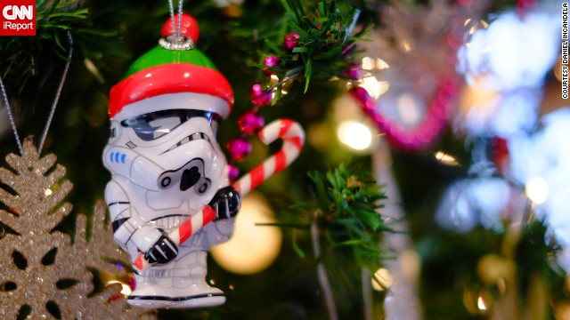"<a href='http://ireport.cnn.com/docs/DOC-1066229' target='_blank'>Daniel Incandela</a> started collecting quirky Christmas tree ornaments three years ago. This is one of his newest additions, a ""Star Wars"" Stormtrooper with a Christmas hat."
