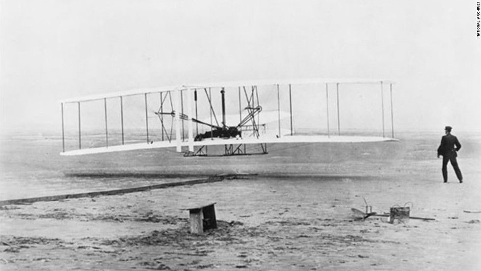 Aviation pioneers Orville and Wilbur Wright made history with the first powered and sustained flight on December 17, 1903, in Kitty Hawk, North Carolina. The brothers began in a bicycle sale and repair shop that eventually funded their experiments with aeronautics and by 1899 they were designing their first successful glider.