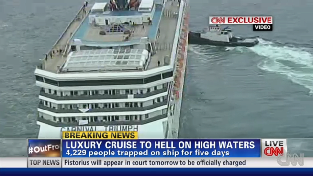 After five days listing in the Gulf of Mexico, the disabled Carnival Triumph cruise ship limped into port. During the ordeal urine and feces streamed down halls and walls after toilet facilities failed, inspiring the scatological two-word epigram for which the trip will always be remembered.