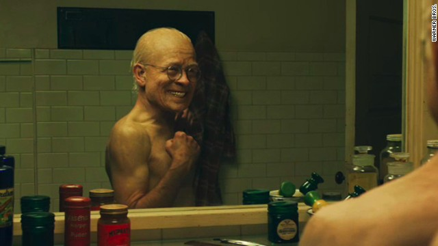 "Pitt ages backward in the 2008 film ""The Curious Case of Benjamin Button."""