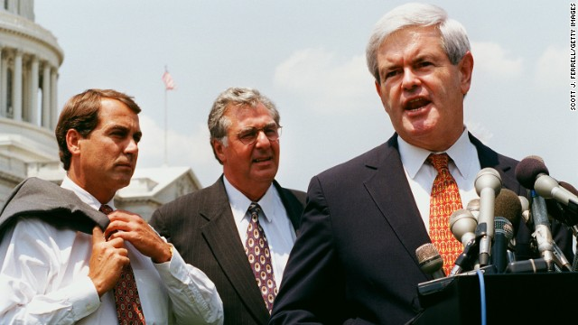 Boehner and House Majority Leader Dick Armey, R-Texas, listen to House Speaker Newt Gingrich at a 1997 news conference with entrepreneurs promoting the GOP tax relief plan.