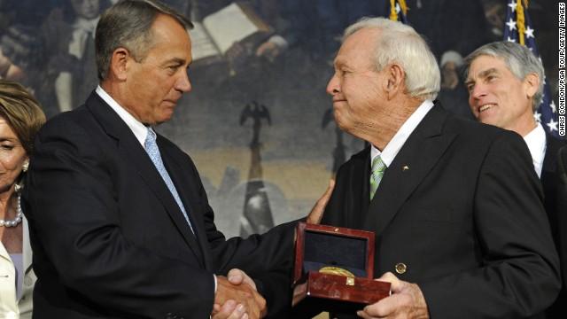 Boehner presents golfing legend Arnold Palmer with the Congressional Gold Medal at a special ceremony in the Rotunda of the Capitol on September 12, 2012.