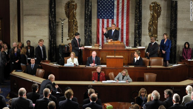 Boehner is sworn in as the speaker of the House after his re-election on January 3, 2013.