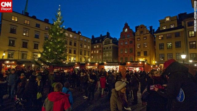 Tourists and locals alike enjoy the Christmas market in Stockholm's Old Town. Visitors can buy handmade crafts and shop for all kinds of meat and cheese -- or just enjoy a mug of glogg, the traditional mulled wine of Christmastime.