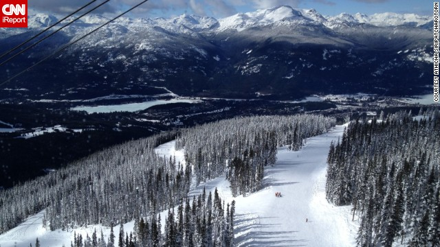 Athicha Siripatcharotorn captured this stunning image of Canada's <a href='http://ireport.cnn.com/docs/DOC-962712'>snow-covered mountains</a> from a gondola ride in Whistler.