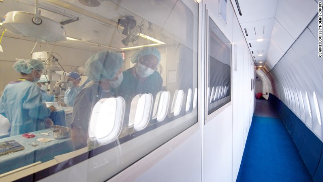 But inside the plane there is a surgical theater and a screening room for patients.